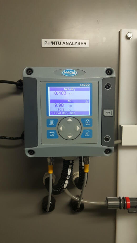 PH and Turbidity Analyser installed as part of a MBR system