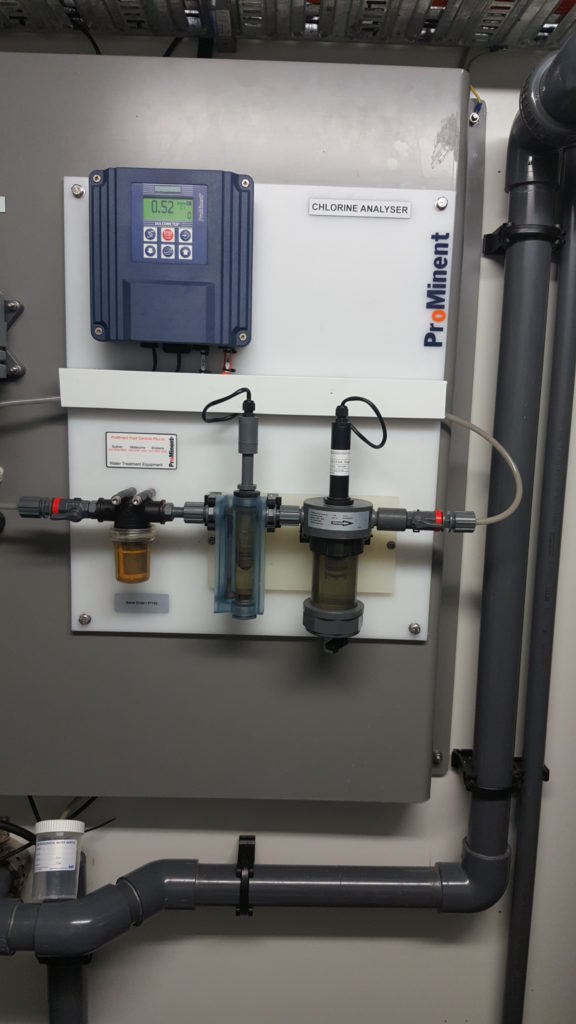Chlorine analyser operating as part a disinfection system