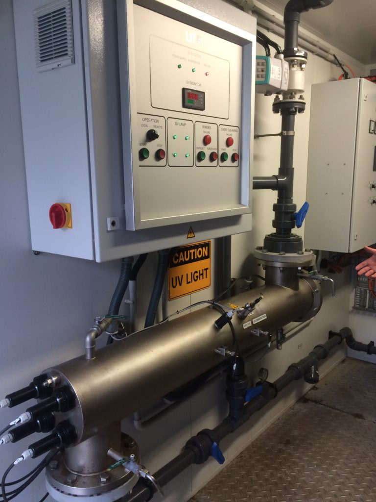 UV Sterilisation system installed as part of a MBR system